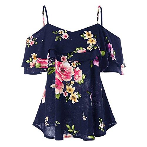 HGWXX7 Women Floral Printing Off Shoulder Short Sleeve Chiffon Tops Shirt Blouse (XL, Navy)