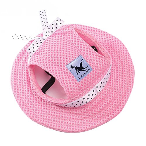 CIDEROS Pet Dog Princess Hats for Small Size Dogs Visor Design Fashion Dogs Baseball Sun Hats Sport Cap with Ear Holes and Chin Strap - Size M (Pink Color for Girl)