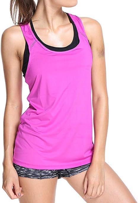 Camisetas sin mangas de fitness para mujer | Amazon.es