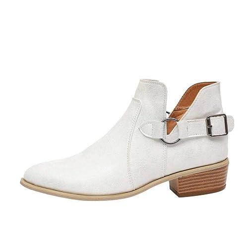 Botines Mujer Tacon Medio Piel Botas Invierno Señora Zapatos Tacón Ancho 5Cm Chelsea Boots Vintage Cómodos Negro Blancas 35-43