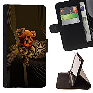 BullDog Case - FOR/Sony Xperia Z3 D6603 / - / GOLD ORANGE MUSIC DEATH BONES ROCK /- Monedero de cuero de la PU Llevar cubierta de la caja con el ID Credit Card Slots Flip funda de cuer