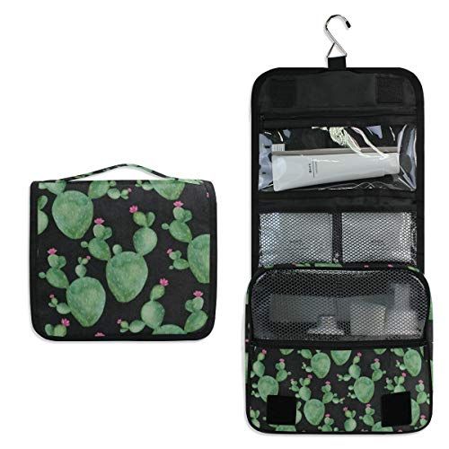 - Travel Hanging Toiletry Bag Cactus Watercolor Plant Cosmetic, Makeup and Toiletries Organizer | Compact Bathroom Storage | Home, Gym, Airplane, Hotel, Car Use