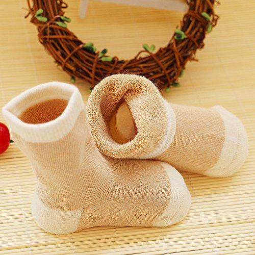 VWU Lot de 3 Paires Unisexe Bebes Infant Chaud et épais Camaïeu Antiderapants Chaussons Chaussettes de Nouveau-Nés Bébé Chaussettes en Organic Cotton Natural