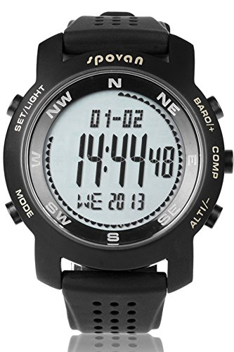 Spovan Mens Military Barometer Altimeter Compass 5ATM Waterproof Black Silicone Digital Watches