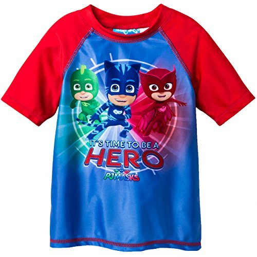 PJ Masks Boys Rash Guard Swimwear Top (2T, Hero Blue/Red)