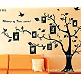 Witkey Supre Large size memory Photo tree with flying birds DIY Removable wall sticker Living room Art Vinyl Decal Mural Home Room (leaf turn to left)