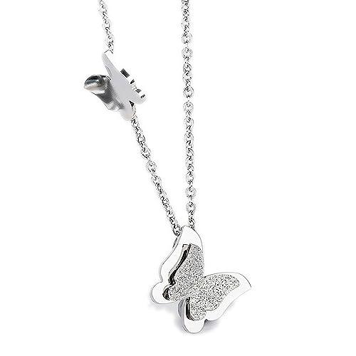 """Kim Johanson Edelstahl Damen Halskette mit Anhänger """"Schmetterling"""" in Silber inkl. Geschenkverpackung"""