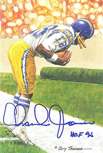 Joiner Autographed San Diego Chargers - Charlie Joiner Autographed San Diego Chargers Goal Line Art Blue HOF