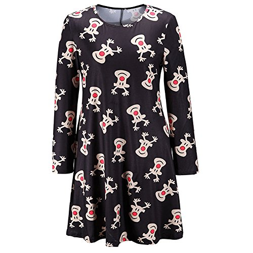 iPretty Mother and Daughter Womens Christmas Swing Dresses Ladies Long Sleeve Xmas Swing DRESS Plus Size Black