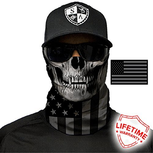 SA Company Face Shields Men Women Great Fishing, Motorcycle Riding Protection Face Shield Mask Neck Gaiters Cold Hot Weather (Blackout American Flag Skull)