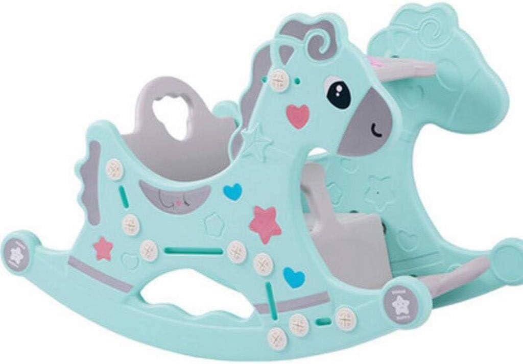 JBHURF Silla Mecedora para bebés Silla cómoda para bebés 1-3 años de Edad Cuna de Juguete niños música Mecedora Caballo Silla Mecedora (Color : Verde)