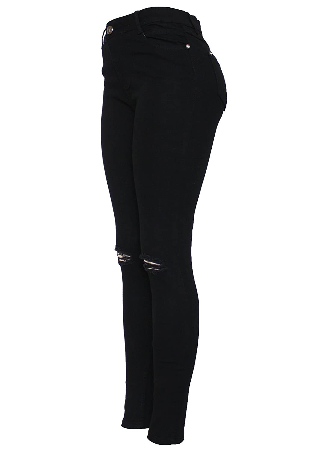 New Ladies Skinny High Waisted Knee Ripped Cut Out Stretch Denim Black Jean  Size 8-16 (8): Amazon.co.uk: Clothing
