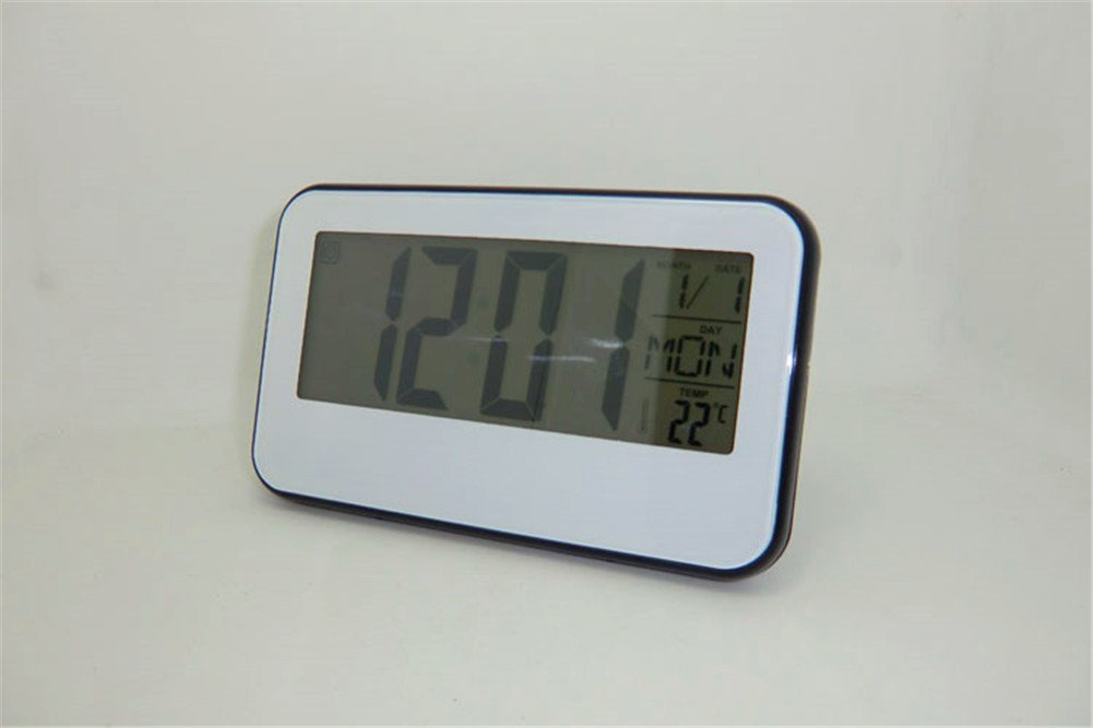 Surborder Shop Digital Alarm Clock Battery Operated with Large Display, Snooze - Travel Alarm Clock and Home Alarm Clock - (White)