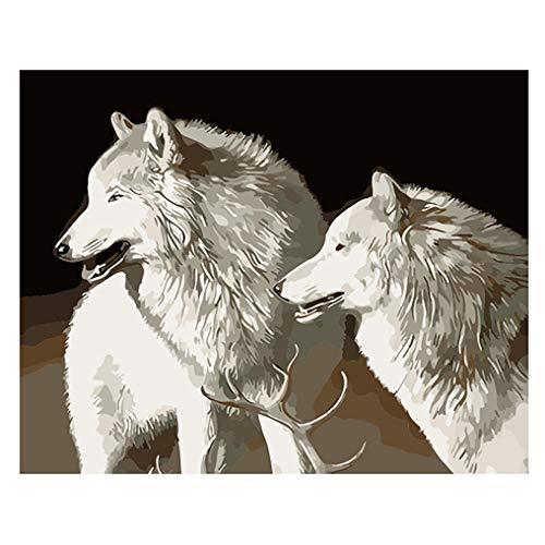LovetheFamily 数字油絵 数字キット塗り絵 手塗り DIY絵 デジタル油絵 ホーム オフィス装飾 40x50cm 白い犬の商品画像