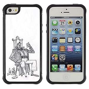 Be-Star único patrón Impacto Shock - Absorción y Anti-Arañazos Funda Carcasa Case Bumper Para Apple iPhone 5 / iPhone 5S ( Alcohol Man Drunk Art Drawing Pencil )