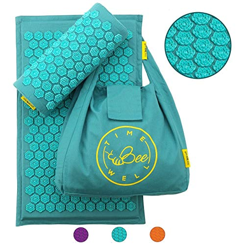 TimeBeeWell Eco-Friendly Acupressure Mat and Pillow Set - Back and Neck Pain Relief -Relieves Stress