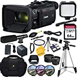 Canon Vixia HF G60 Wi-Fi 4K Ultra HD Video Camera Camcorder with 64GB High Speed Memory Card + LED Video Light + Microphone + Accessory Bundle (18 Items)