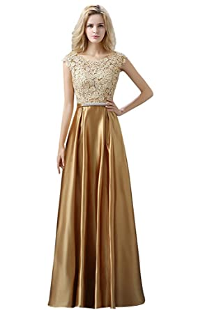 Drasawee Womens Collar Long Lace Evening Dress Party Gown Gold UK18