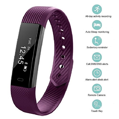 Fitness Tracker, bossblue Smart Fitness Watch Touch Screen Activity Health Tracker Wearable Pedometer Smart Wristband Purple