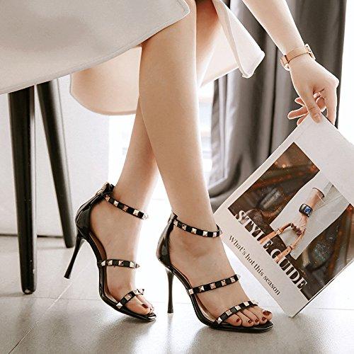 Hochhackige Open Brautschuhe Hochzeit Ankle Sandalen Damen Toe Frauen Strap Kleid Black xaSp7