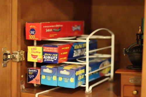 Large Product Image of DecoBros Kitchen Wrap Organizer Rack,White (Small / Standard, 2-1/2