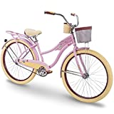 Huffy 26' Women's Beach Cruiser Holbrook Bike w/ Cup Holder, Handle Basket & Rear Rack
