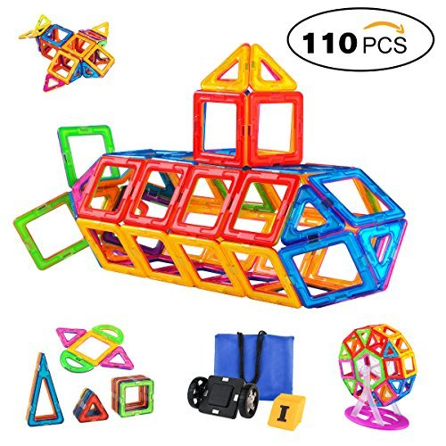 Magnetic Blocks 110 PCS, Magnetic Building Blocks Set Magnet Tiles Educational Toys for Kids/Toddlers/Children