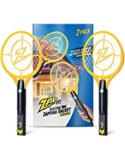ZAP IT! Bug Zapper Twin Pack - Rechargeable Mosquito, Fly Killer and Bug Zapper Racket - 4,000 Volt - USB Charging, Super-Bright LED Light to Zap in The Dark - Safe to Touch