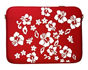 """DIGITTRADE LS107-15 Designer Notebook Sleeve 15.4"""" Laptop Cover Red Flower Neoprene Soft Carry Case up to 15.6 Inch Anti Shock System"""