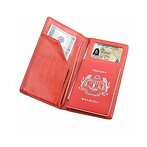 Travel Wallet and Passport Holder Cover Soft Leather Passport Cover Case with 2 Matching Luggage Tags and Luggage Strap Red