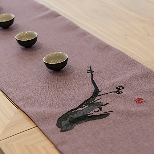 Unparalleled Elegance- Decorative Plum Red Table Runner,Christmas Gift, 13X72Inches for The Dining Room or Living Room with Oriental Zen Style Embroidery by YIN FUNG