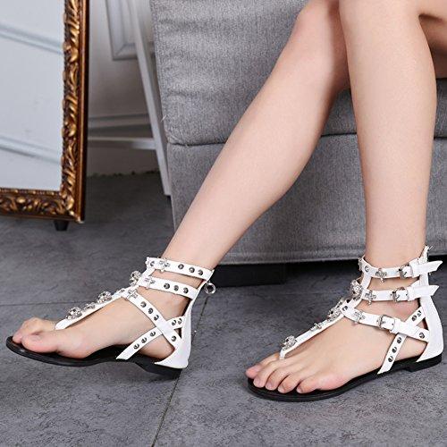 Femme Plate Plage Roman De Chaussures Chaussures Perlées De Accessoires Vacances Blanc Sandales rXqrEI