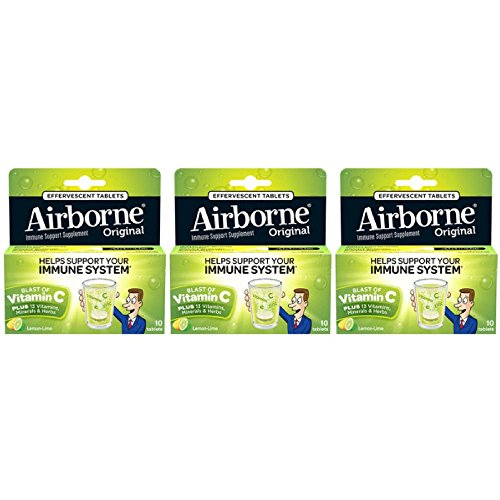 Airborne Lemon Lime Effervescent Tablets, 10 count - 1000mg of Vitamin C - Immune Support Supplement (Pack of ()