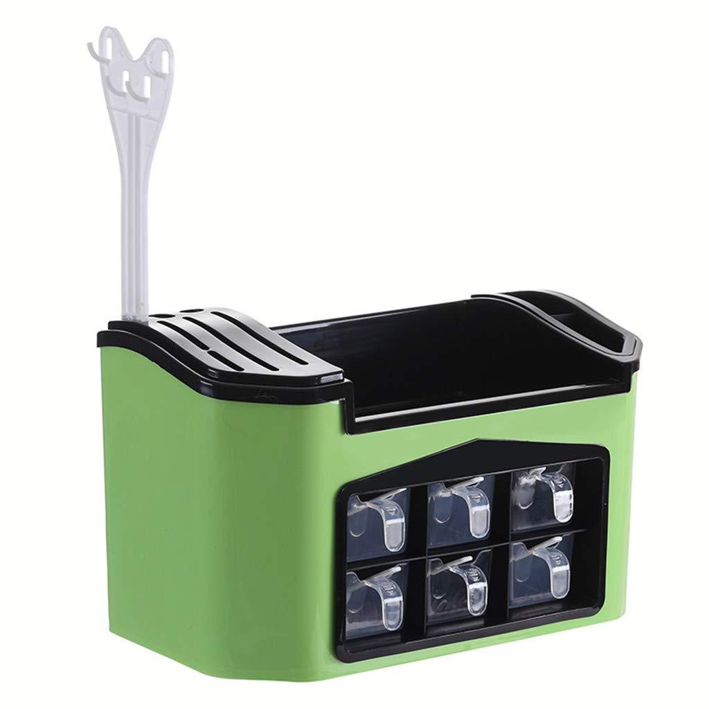 Storage Shelf Seasoning Storage Box,SuperUSKitchen Shelf Plastic Multifunctional Multiple Compartments Racks Seasoning Box