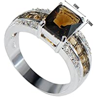 supaporn shop Elegant Women Jewelry 925 Silver Smoky Quartz Wedding Engagement Ring Jewelry (8)