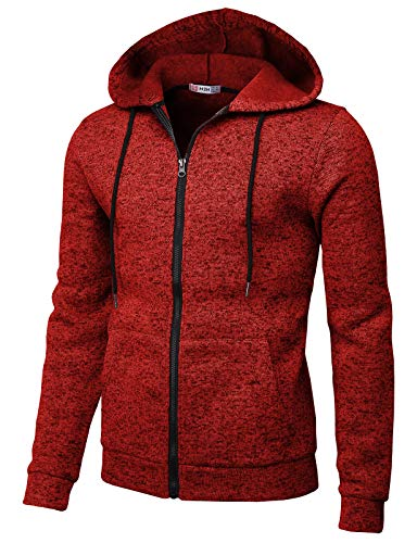 H2H Mens Knitted Casual Slim Fit Zip-Up Hoodie Jacket Long Sleeve Napping Inside RED US L/Asia XL (CMOHOL056) ()