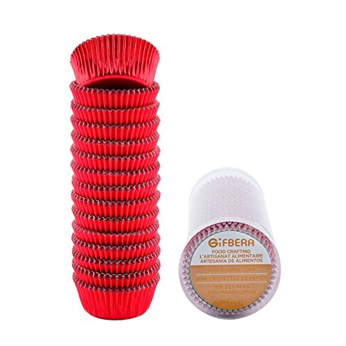 Gifbera Mini Baking Cups Red, 300-Count Bright Foil Paper Red Cupcake Liners Mini Size]()
