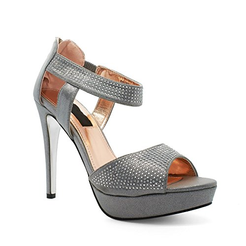 London Footwear Indira, Women's Heels Sandals Silver