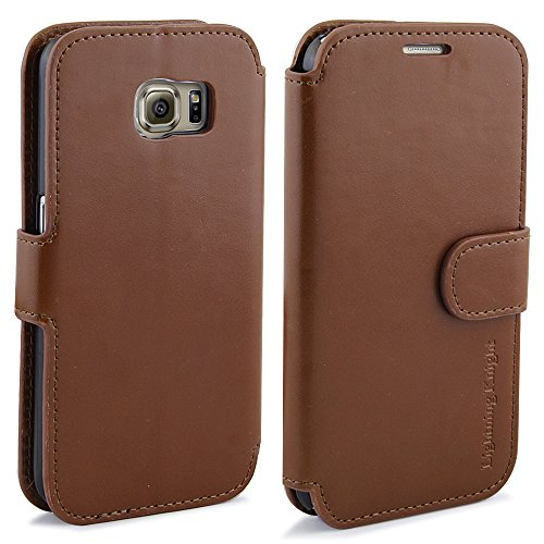 S6 Edge Case, LK [Stand Feature] S6 Edge Wallet Case ,Luxury Flip Cover PU Leather Case for Samsung Galaxy S6 Edge with Card Slots, Brown