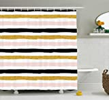Pink and Gold Shower Curtain Ambesonne Abstract Shower Curtain by, Horizontal Striped Paintbrush Background Artistic Modern Illustration, Fabric Bathroom Decor Set with Hooks, 70 Inches, Gold Light Pink Black