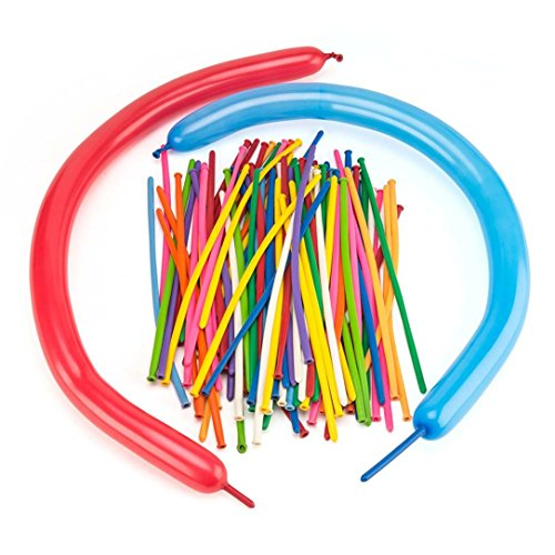 Caryo 100pcs Assorted Colors 260Q Twisting Animal Shaping Balloons Magic Long Latex Balloon for Parties Clowns Birthdays