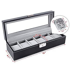 6 Slot Leather Watch Box Display Case Organizer Glass Jewelry Storage Black