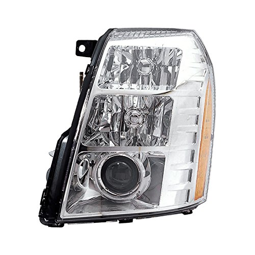 HEADLIGHTSDEPOT Chrome Housing HID Headlight Compatible with Cadillac Escalade ESV EXT 09 2nd Design Includes Left Driver Side Headlamp