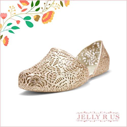 Chemistry Y530 Mujeres New Stylish Easy Zig Zag Tejido Bird Nest Nest Mesh Cosy Candy Slip-on Jelly Ballet Sandal Flat Gold (6 B (m) Us)