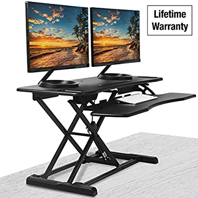 """Standing Desk Converter - 37"""" Wide Stand Up Desk Riser - Tabletop Sit Stand Desk Fits Dual Monitors - Two Tiered Height Adjustable Desk Workstation with Removal Keyboard Tray (Rise-X Pro)"""