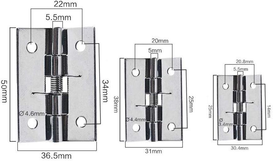 NQFL Door Hinge Stainless Steel Spring Hydraulic Buffer Automatic Closing Door Closer Damping Hinge Rust Silver(1 Pair)-32 25mm