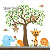 Jungle Wall Decals-Animal Decals-Elephant, lion, giraffe, tiger, parrot, Tree Decal, Wall Stickers, Nursery Wall Decals-Wall Mural-Cute Jungle Wall Decal Set