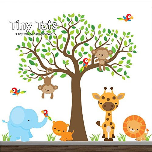 Jungle Wall Decals-Animal Decals-Elephant, lion, giraffe, tiger, parrot, Tree Decal, Wall Stickers, Nursery Wall Decals-Wall Mural-Cute Jungle Wall Decal Set by TinyTots Wall Decals
