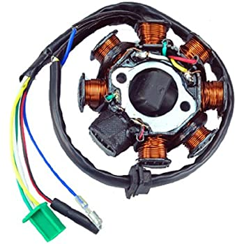 amazon com new ac magneto stator 8 coil 8 pole 5 wire gy6