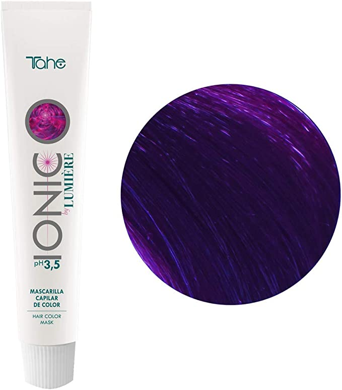 Tahe Ionic Lumière Mascarilla Capilar/Mascarilla de Color de PH de 3,5 Ácido, sin Parebenos. Altamente Nutriente e Hidratante, Violeta Intenso, 100 ml